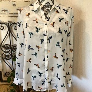 MNG collection humming bird print blouse